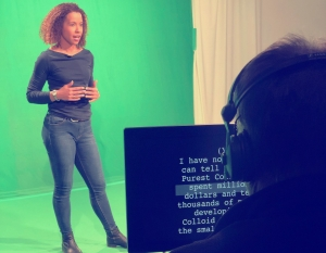 Female TV presenter, professional video presenter, sight reading autocue