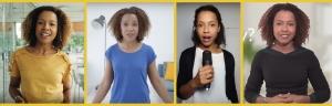 Female tv presenter, black tv presenter, hire a video presenter, British female voice over artist